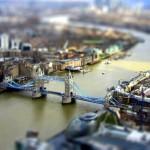 A londoni Tower Bridge ún. tilt shift effekttel fotózva