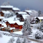 Téli táj Svájcban ún. tilt shift effekttel